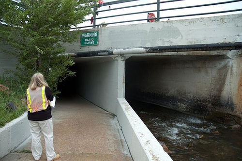 The tunnel in Lakewood Gulch where Elsha Guel tried to take shelter in 2007. Video: Take a fast-forward ride down the South Platte River trail