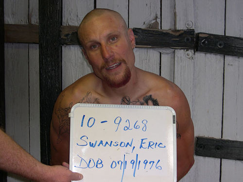 Eric Swanson (pictured) and Jeramie Gerhardt were originally charged with a municipal violation at the 2010 Mayhem Festival; the next day the case was refiled as a felony assault.