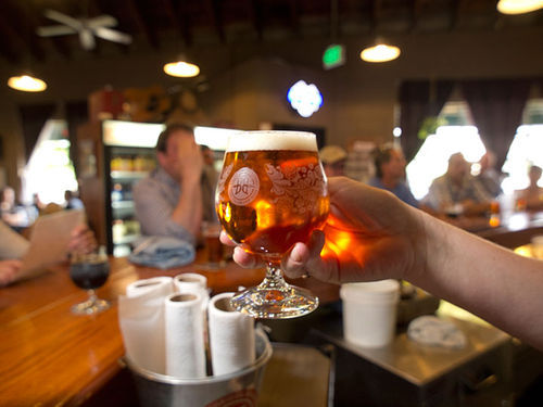 Breckenridge fans at the Kalamath location raise their glasses to more beer capacity.