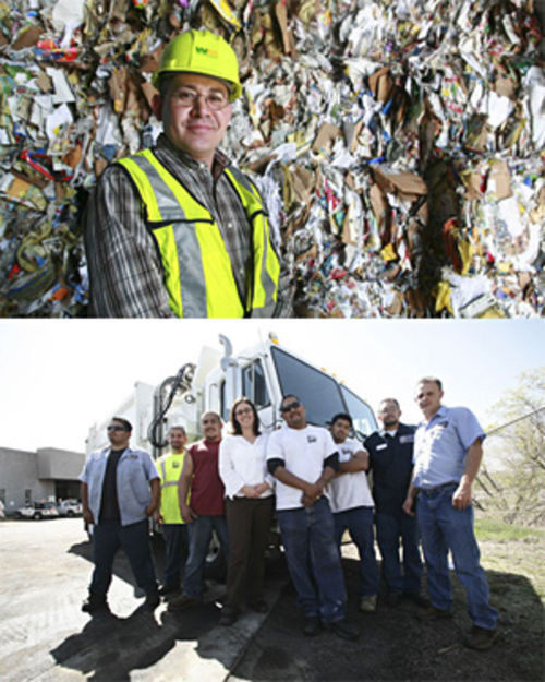 High on fiber: Waste Management operations manager Jose Herrera (above) says the move to single stream quadrupled his workforce; Denver's recycling czar, Charlotte Pitt (right, flanked by city employees), found that automated trucks reduced injuries.