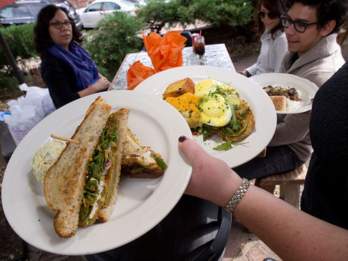 Sass at Sassafras: Fried green tomato sandwich, fried green tomato Benedict, and shrimp and grits.