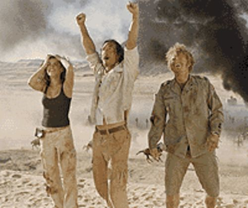 Sand doomed: Penelope Cruz, Matthew  McConaughey and Steve Zahn are happy to have  survived Sahara.