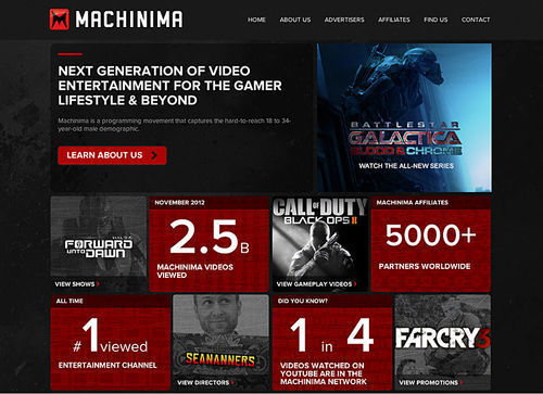 A screencap of the Machinima website.