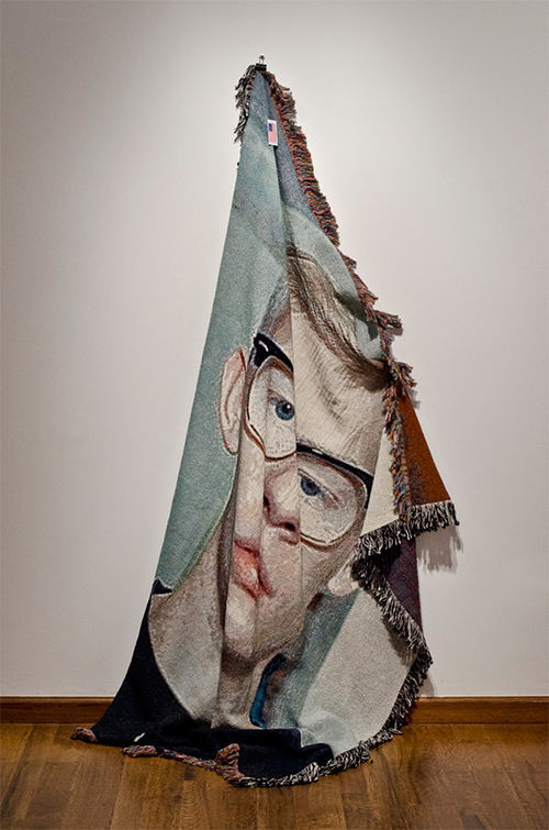 """Shroud,"" by Zach Reini, custom machine-woven blanket."