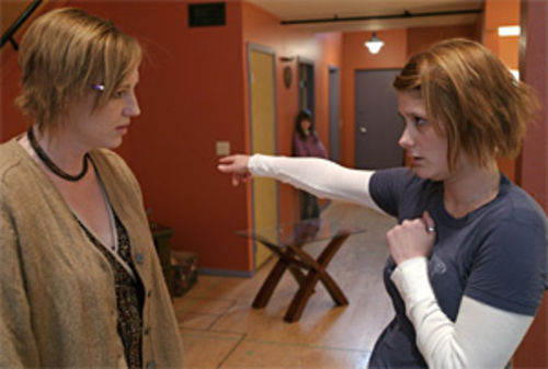 Rita Broderick (left) and Jessica Austgen connect in Bold Girls.