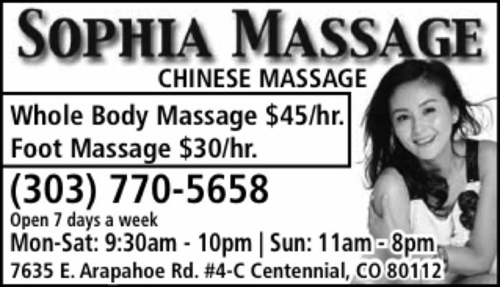 Chinese Massage/Sophia Massage