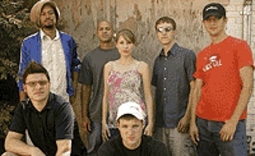Stephen Brackett (clockwise from top left), Josh  Kyser, Mackenzie Roberts, Jesse Walker, Joe  Ferrone, Jamie Laurie and Andy Guerrero are the  Flobots.