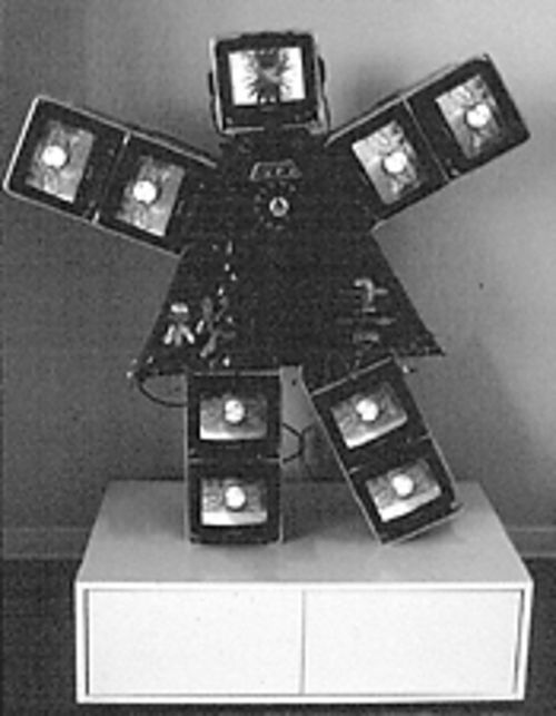 """Lady Secretary, Bilingual, Will Travel,"" by Nam June Paik, video and mixed media."