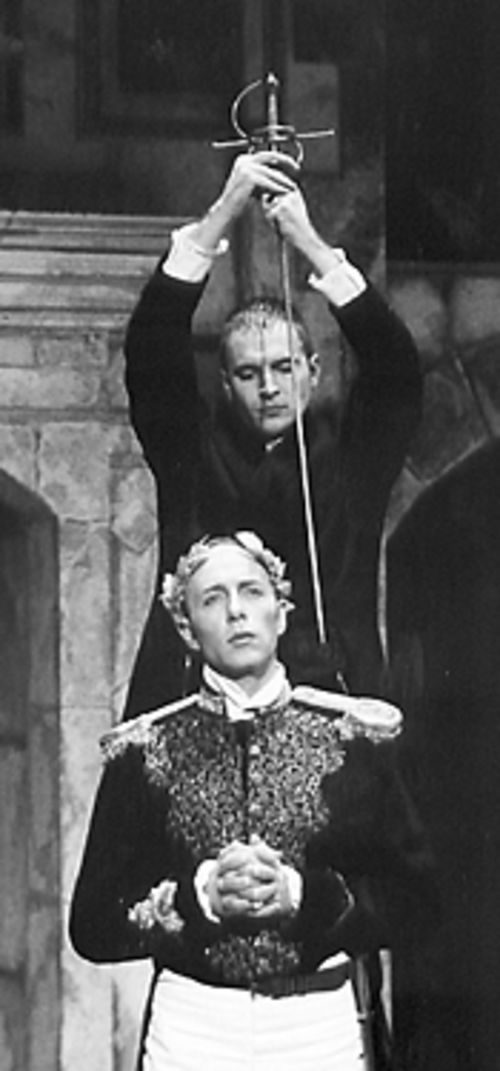 Gene Gillette (with sword) and Greg Humphreys in Hamlet.