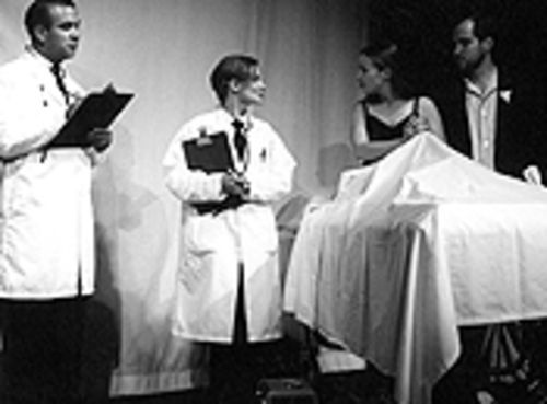 The last dance (from left): Benjamin Toro, Danica Kneebone, Theresa Reid and Frederick D. Katona in The Baltimore Waltz.