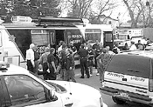 By the time police set up this mobile command post, Harris and Klebold were already dead.