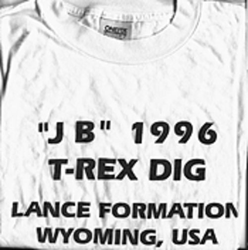 "A T-shirt made for the occasion contradicts a video taken during the dig about how and when ""JB,"" alias Barnum, was discovered."