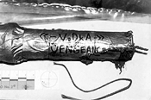 One of Klebold's inscribed pipe bombs.