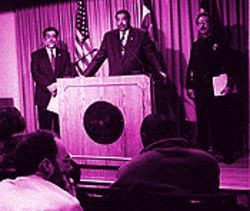 Slow burn: Butch Montoya (left), Wellington Webb and Tom Sanchez didn't have a lot of answers during a February press conference.