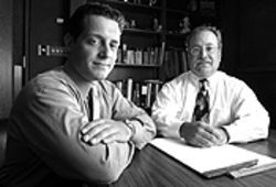 Porn again: Attorneys Andy Contiguglia (left) and Mike  Miller thought Grady's arrest violated the First  Amendment.