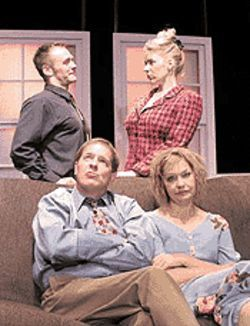 Paul A. Dunne and Edith Weiss (seated), Scott  McLean and Rhonda Lee Brown in Nomad Theatre's  The Fourth Wall.