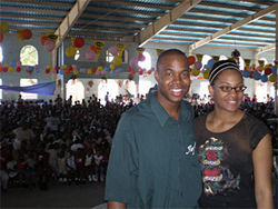 Toys for tots: Dan and Stephanie Jeune at the Christmas party where 10,000 kids showed up.
