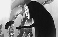 "Ghost world: Chihiro encounters the dangerous ""No-Face"" in Spirited Away."