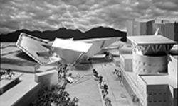 A model of Daniel Libeskind's proposed addition to the Denver Art Museum.