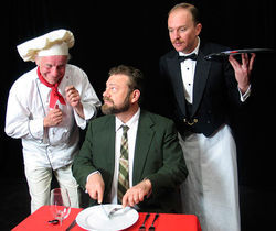 Bob Buckley, John Arp and Josh Hartwell in An Empty Plate in the Cafe du Grand Boeuf.