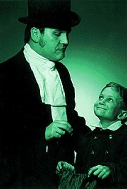 Good child: Steven Sickles and Brendan Chilelli in A Christmas Carol.