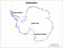 A map of the United States Antarctic Program's three stations.