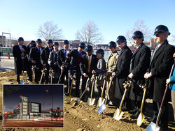 Mayor Michael Hancock and others broke ground last month for a $65 million University of Colorado Denver building (inset) on the north side of campus.