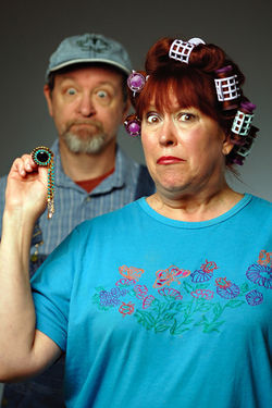 Eric Weber and Pam Clifton in Dearly Departed.