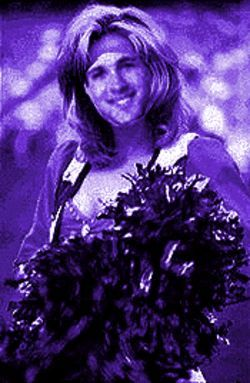 Rah rah: Mike Shanahan's Champion co-author Adam Schefter, pictured as a Broncos cheerleader on the Dennis Britton Go Home! Page.
