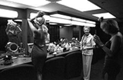 Girls! Girls! Girls! Pat Patterson oversees the action in  La Boheme's basement dressing room.