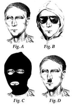 Anyone you know? A psychic's composite of JonBenét's killer (left), along with some possible disguises.
