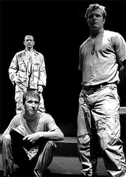 Tales from the front: Todd Black (from left), C.J.  Hosier and Phillip Page in Sand Storm.
