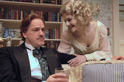 Steven Cole Hughes and Heather Lacy in Blithe Spirit.