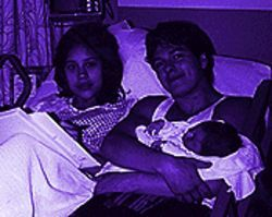 The good old days: Danny and Barbara, with their new baby girl, Mariah, in 1991.