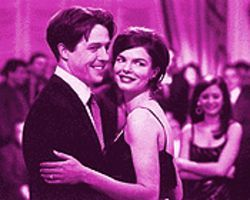 Mob scene: Hugh Grant and Jeanne Tripplehorn in Mickey Blue Eyes.