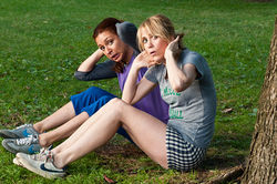 Maya Rudolph (left) and Kristen Wiig star in Bridesmaids.