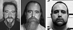 Crossing over: Former prison guard Joe Principe at  the time of his 2000 arrest (from left), in the hole, and  today.