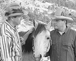 Robert Kramer (left) and David C. Riley in True West.