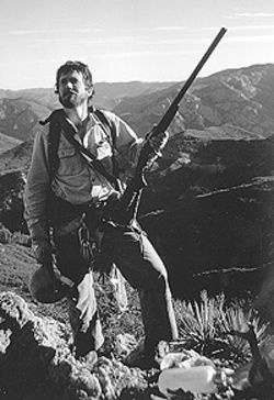 Back to nature: Rob Ramey on a California Condor  study in northern California in the mid-'80s. The  shotgun was used to defend Condor nests from  marauding ravens.