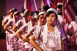 Youth dancers from Denver line up to perform at a Karen New Year's celebration recently in Greeley.