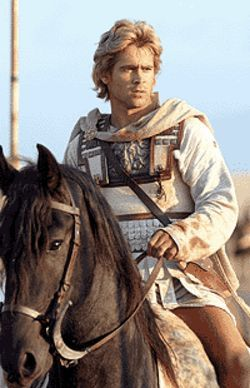 Horsing around: Colin Farrell goes for a ride in  Alexander.