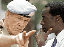 Hometown hero: Nick Nolte gives Don Cheadle some pointers in Hotel Rwanda.