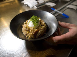 Chinese Sausage Fried Rice, Poached Egg. See more photos of the menu options at ChoLon.