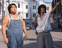 Fat chance: Lam Tze Chung and Stephen Chow are  ready to rumble in Kung Fu Hustle.