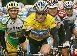 Lance Armstrong continues his quest during a recent  stage of the Tour de France.