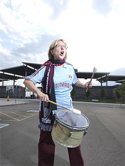 Victoria Baldwin bangs the drum for the Rapids.