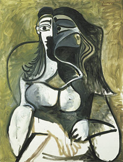 """Woman in an Armchair,"" by Picasso, oil on canvas."