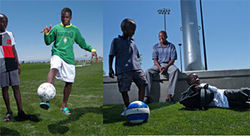 Fancy footwork: Espoire (left) juggles the ball while Benjamin looks on; Benjamin's father (right), Jonathan Nduwayo Sarukundo, is happy his sons have a chance to play the game.