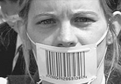 Bar none: A girl with a barcode mask is part of the  anti-business documentary The Corporation.