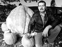 On gourd: Joe Scherber, a gardener outstanding in his field -- giant pumpkins.